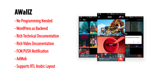 AWallZ | Native Android HD Wallpaper App with WordPress Back-end, AdMob & FCM PUSH Notification