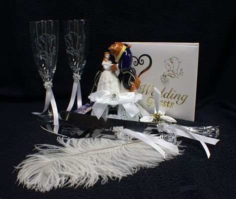 Beauty and the Beast Belle LOT Wedding Cake Topper Glasses