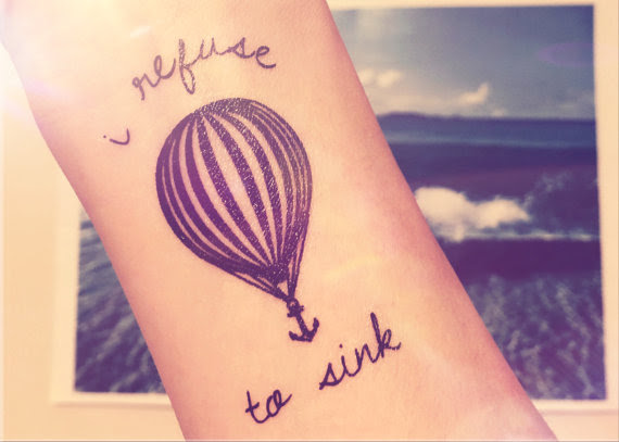 2pcs Hot Air Balloon I Refuse To Sink Anchor Tattoo Inknart