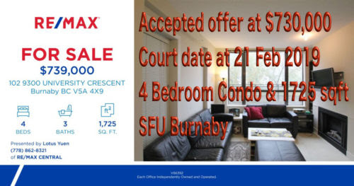 Accepted offer 730K & Court Date 21Feb2019 - Burnaby Simon Fraser University (SFU) 4 Bed Condo