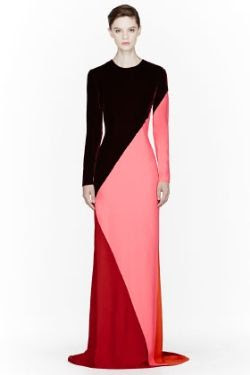 Stella McCartney Burgundy Colorblocked Silk Velvet Gown