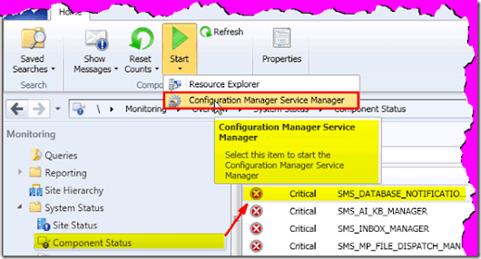 Where is Tools ConfigMgr Service Manager Option in CM 2012 Console - Anoops