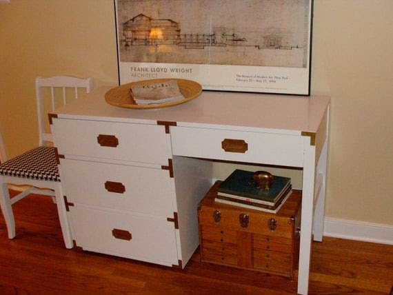 Large Vintage Campaign Desk with Chair hollywood regency meets bohemian