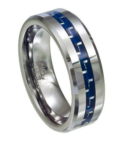 Men's Tungsten Ring   Blue Carbon Fiber Inlay ? Polished
