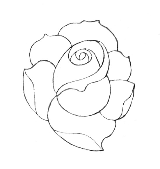 Rose Line Drawing Tattoo Design