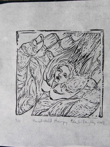 Hand-Held Harpy Linocut