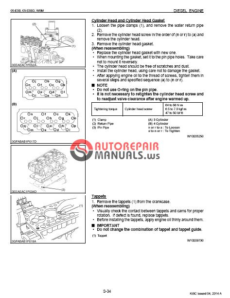 ENGINE KUBOTA V1505 Repair Manual | Auto Repair Manual