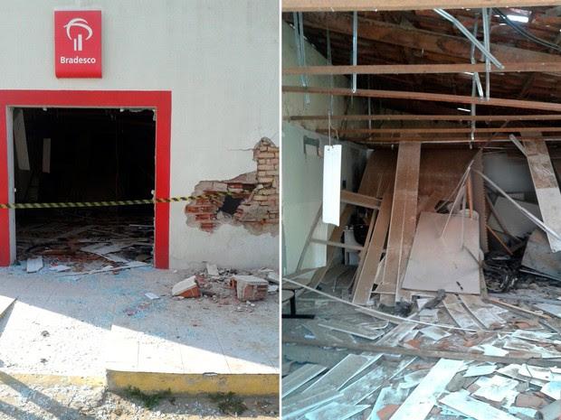 Agência do Bradesco de Bom Jesus ficou completamente destruída com a explosão  (Foto: Divulgação/Polícia Militar do RN)