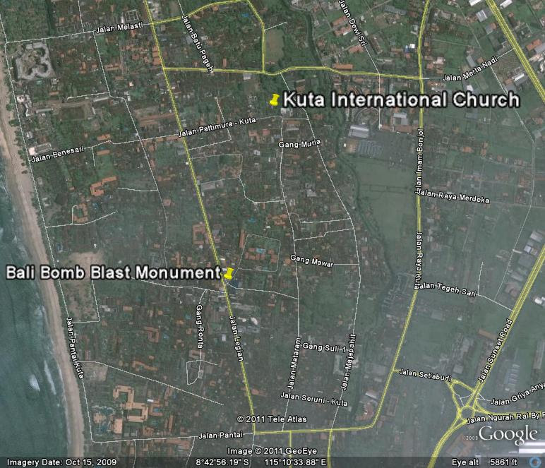 Location Map of Bali Bomb Memorial Kuta for Travelers Guide,Bali Bomb Memorial Kuta Location Map,Bali Bomb Memorial Kuta Accommodation Hotels Map,ground zero bali nightclub bombing victims memorial location photos map