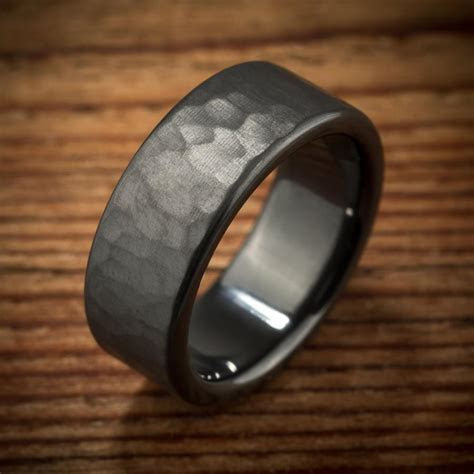Men's Wedding Band Hammered Comfort Fit Interior Black