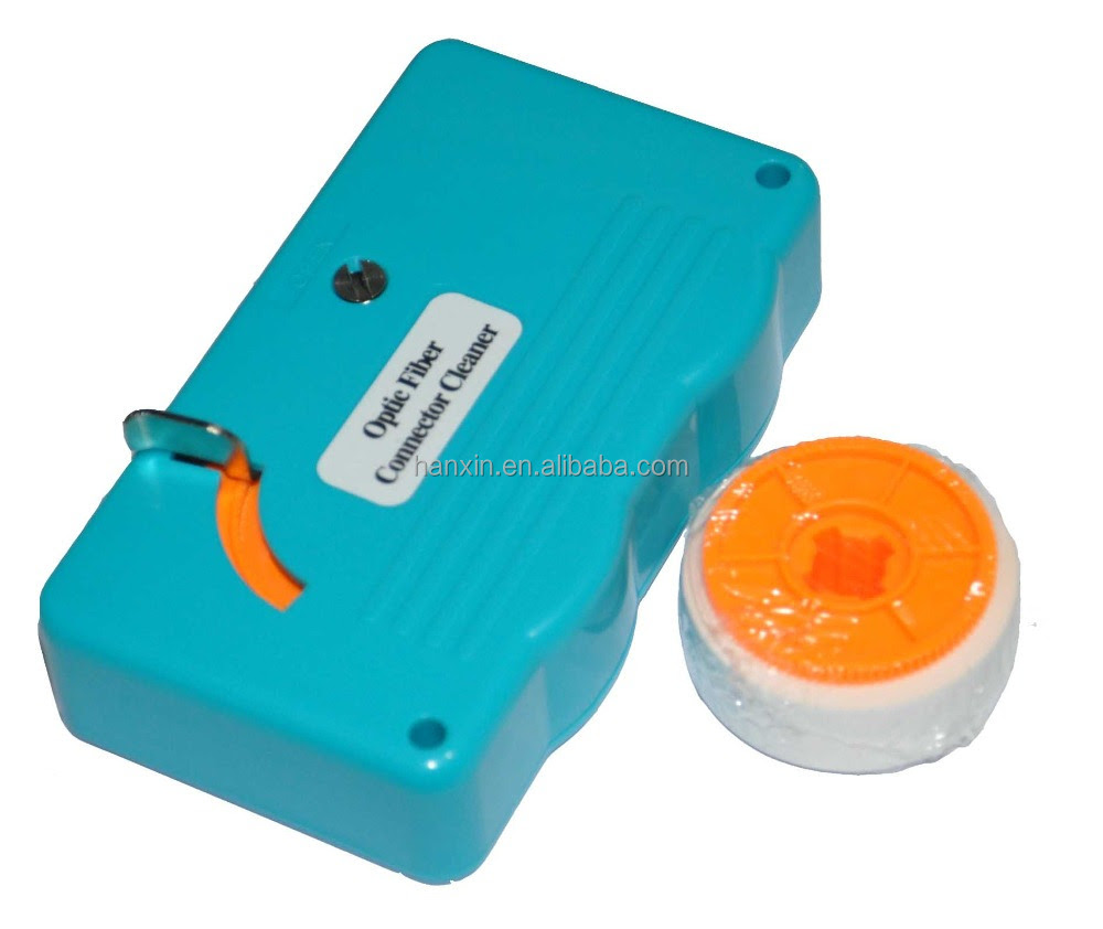 Fiber optic connector cassette cleaner with tape
