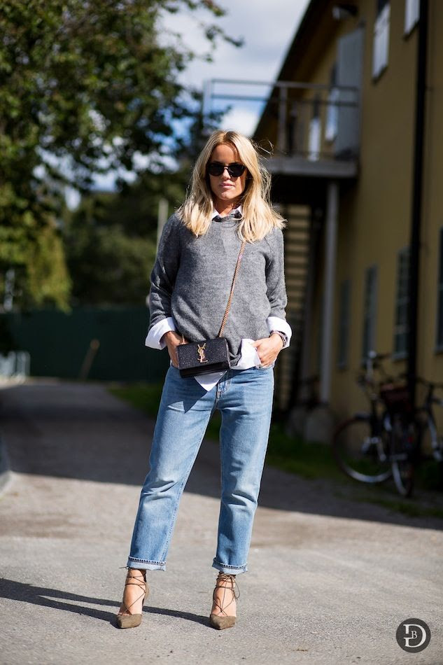 Le Fashion Blog -- Sweden Street Style -- Laid Back Chic in Stockholm -- Grey Sweater, White Shirt, Boyfriend Jeans & Aquazzura Heels -- Via The Urban Spotter -- photo Le-Fashion-Blog-Sweden-Street-Style-Laid-Back-Stockholm-Grey-Sweater-White-Shirt-Boyfriend-Jeans-Aquazzura-Heels-Via-The-Urban-Spotter.jpg