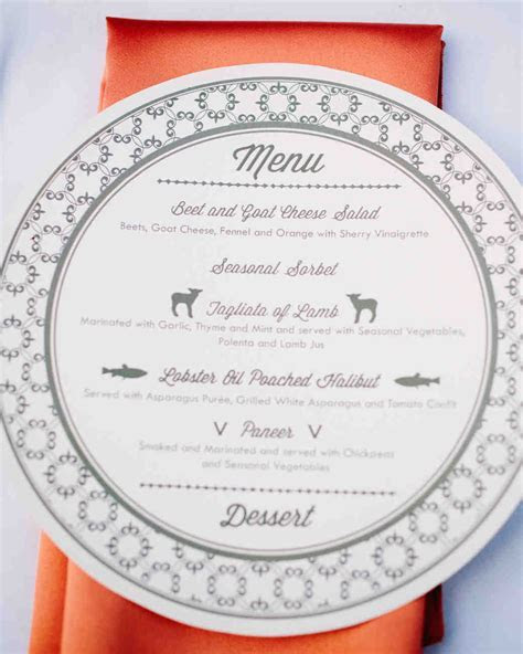 Unique Menu Cards and Displays   Martha Stewart Weddings