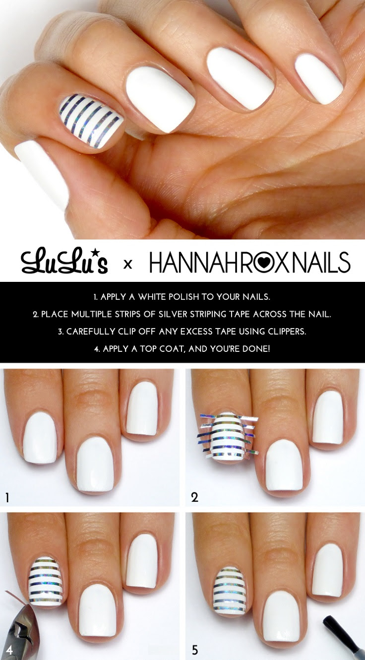 White and Silver Striped Accent Nail Mani Tutorial