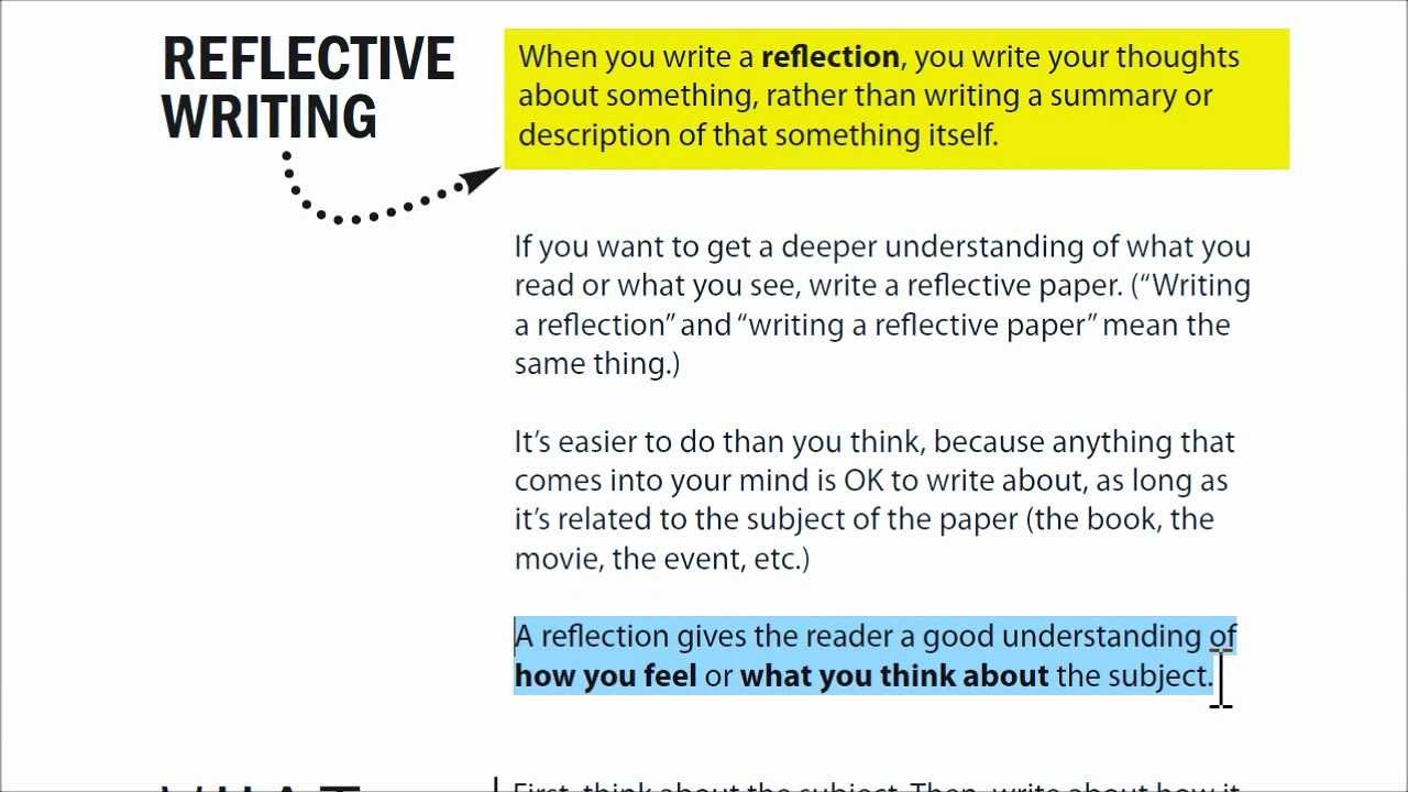 how to write a reflection essay about a book example