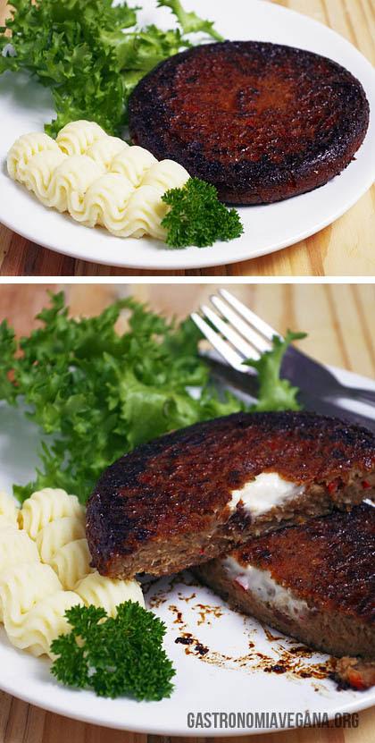 Hamburguesas de judías rellenas de queso vegano