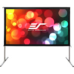 Elite Screens Yard Master 2 Series OMS120H2-DUAL Projection Screen with Legs - Black Trim/Silver frame