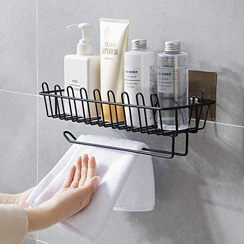 Xenoty Self Adhesive Wall Hanging Shelves for Bathroom and Kitchen with Towel and Tissue Rack Stand