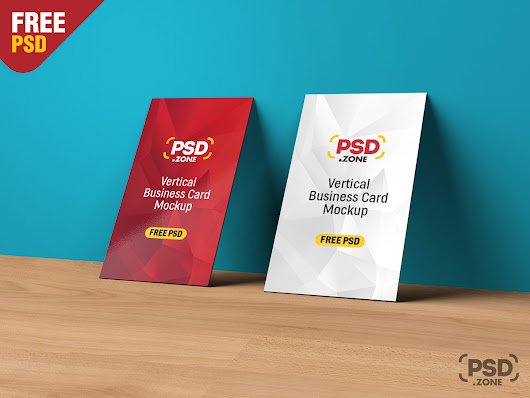 Vertical Business Card Mockup PSD - PSD Zone