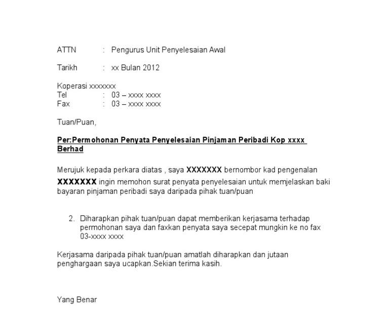 Surat Rasmi Full Settlement - Surat Rasmi D