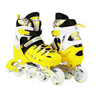 Scale Sports Kids Adjustable Inline Roller Blade Skates Yellow Small Sizes Safe Durable Outdoor Featuring Illuminating Front Wheels 905