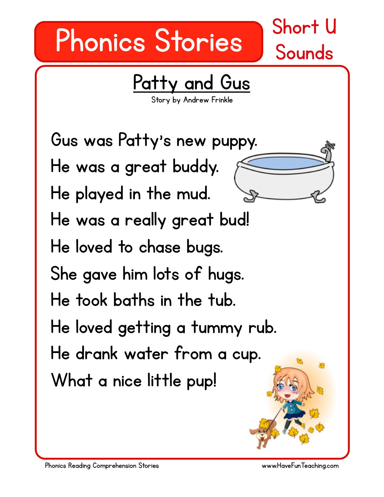 Reading Prehension Worksheet Patty And Gus