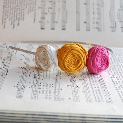 Rosette headband pink goldenrod and cream