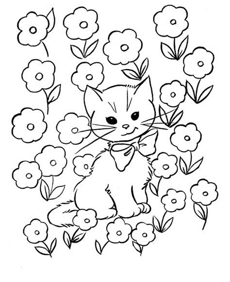 cat color pages printable kids coloring pages