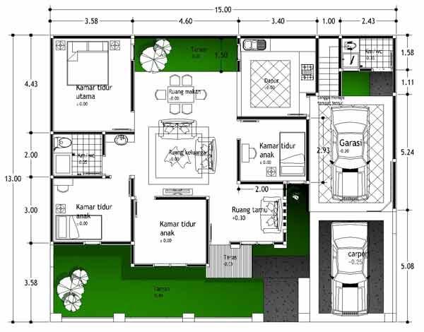 Contoh Sketsa Rumah 3 Kamar - Contoh denah rumah minimalis 3 kamar
