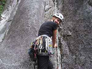 A rock climber with a collection of climbing n...