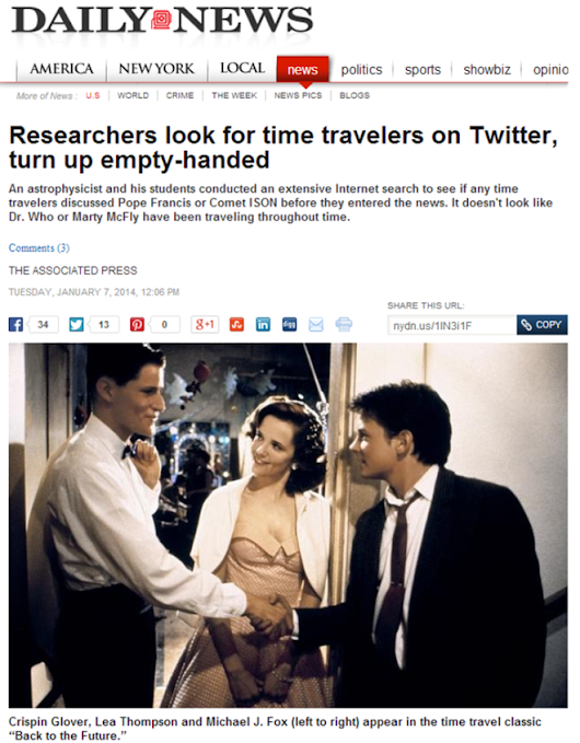 Evidence for time travel on Twitter is not there, unsurprisingly