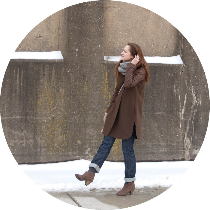 dash dot dotty, vince leather coat, leather-sleeved jacket, brown coat, gray knit cowl, ankle boots with socks, cuffed boyfriend jeans, saturday outfits, what to wear, citizens of humanity ava, cuffz, lavender crossbody purse