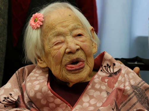 Misao Okawa, the world's oldest Japanese woman, poses for a photo on her 117th birthday celebration at Kurenai Nursing Home on March 4, 2015 in Osaka, Japan. Japanese woman Misao Okawa was the oldest living person in the world as certified by the Guinness World Records, who celebrated her 117 birthday on March 5. Okawa was dubbed the worlds oldest living person since the June 12, 2013 death of 116 years and 54 days old Jiroemon Kimura, also Japanese. She is ranked first Oldest Japanese person ever and third person reached to 117in the world.