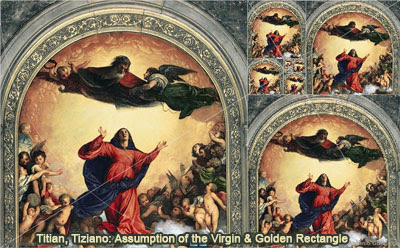Titian or Tiziano: Assumption of the Virgin and Golden Rectangle, Droste Effect, HTML5 Animation