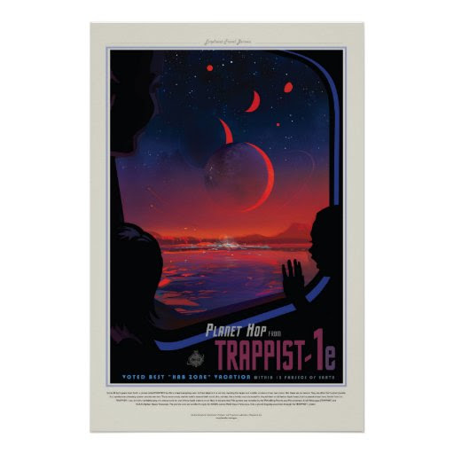 TRAPPIST-1 System Planet 1e retro space tourism ad Poster