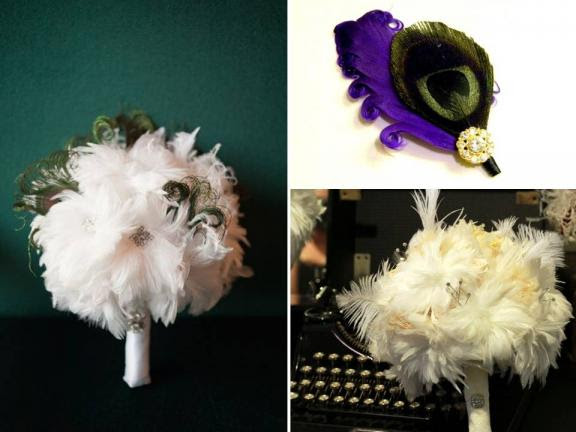 Feather bridal bouquets and colorful feather bout for the groom