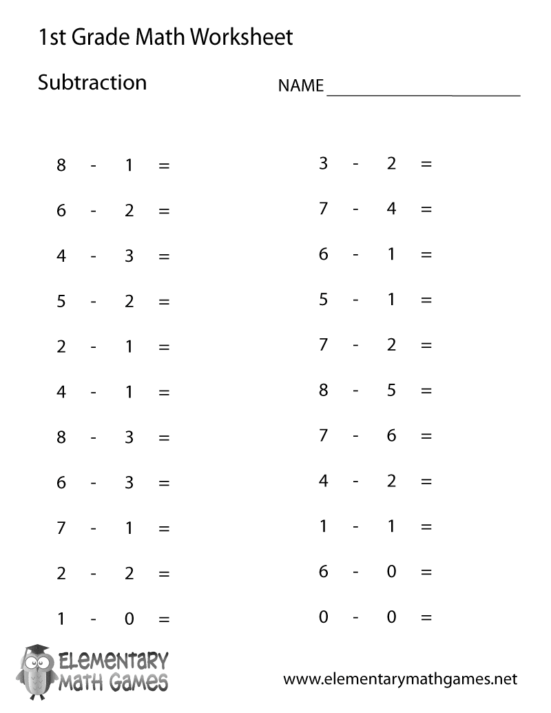 First Grade Subtraction Worksheet