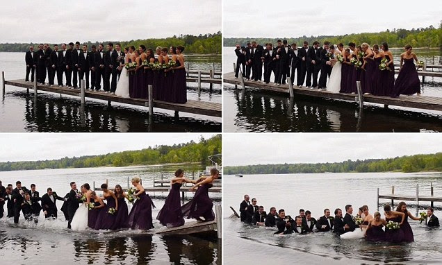 Dan and Jackie Anderson got married in Crosslake, Minn. over the weekend and videographer Megan Fritze caught it all on tape ? including the unexpected plunge into the lake just an hour before the wedding.