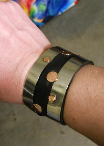 bracelet spring steel, leather, copper by Wolfgang Schweizer