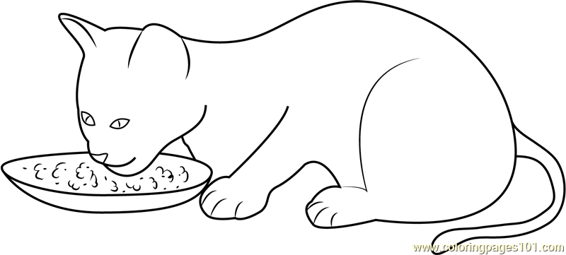 Kitten Eating her Food Coloring Page - Free Cat Coloring ...