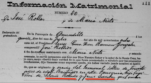 Confirming the Names of Great Grandfather José Robledo's Parents