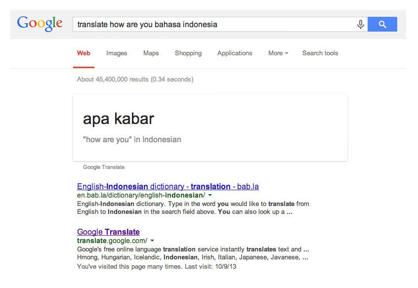 Translate Bahasa dengan Google Search