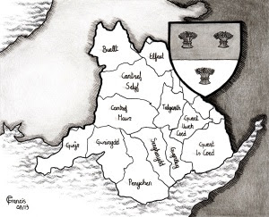 Approximate extent of William's lands in Wales (by Carrie Francis)