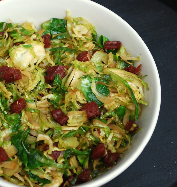 Brussel Sprouts with Chinese Sausage