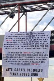 Una de las narcomantas desplegadas en Nuevo León. Foto: Especial