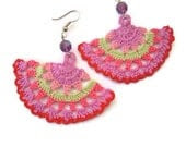crochet earings- multicolored - PashaBodrum