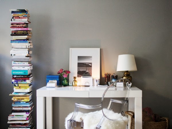 dens/libraries/offices - Ralph Lauren - Forde Abbey - West Elm Parsons Desk - White Philippe Starck Ghost Chair Ikea Rens Sheepskin vertical bookshelf ebay lamp gray walls