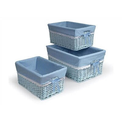 Wicker 3 Piece Basket Set with Liners Color: Blue