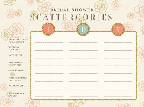 Bridal Shower Scattergories Game Card on Behance