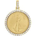 22K Gold American Eagle Liberty Coin 1/4 Oz. Diamond Mounting Pendant 1.06 CT.